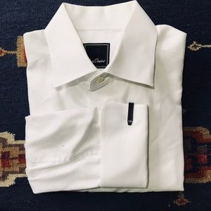 David Donahue Trim Fit French Cuff White Shirt 32